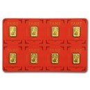 8x1 gram Gold Bar PAMP Suisse Lunar Dog Multigram+8 (In Assay)