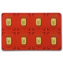 8x1 gram Gold Bar PAMP Suisse Lunar Monkey Multigram+8 (In Assay)