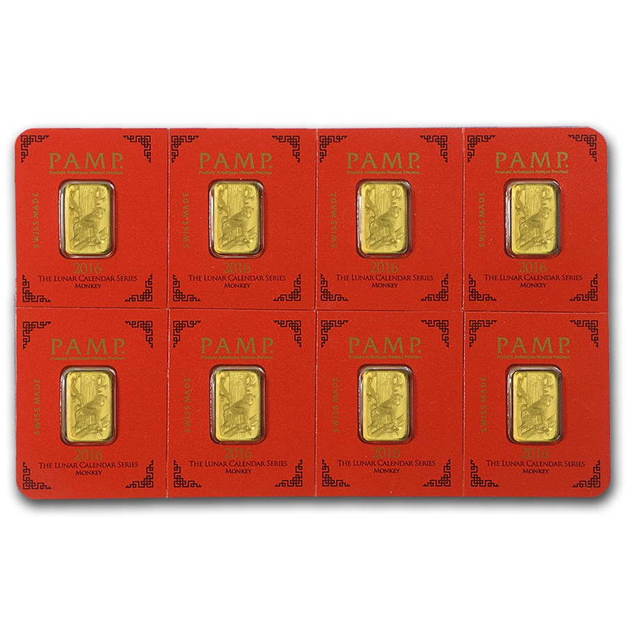 8x1 gram Gold Bar PAMP Suisse Lunar Monkey Multigram+8 (In Assay)