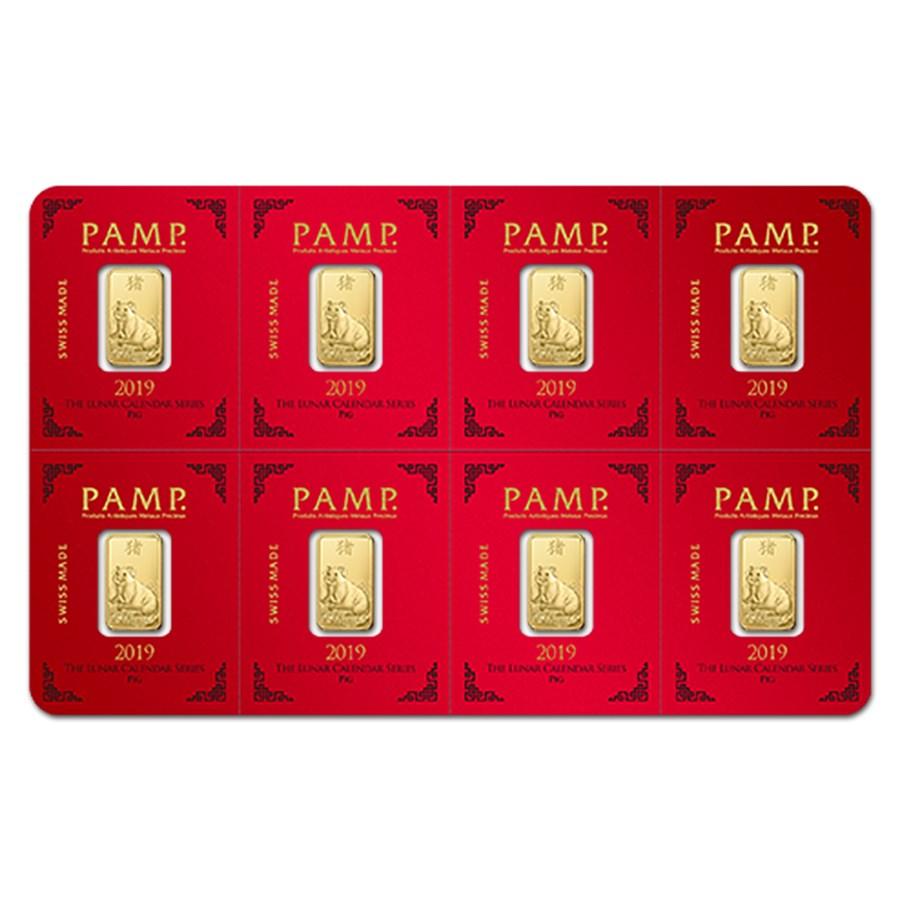 8x1 gram Gold Bar PAMP Suisse Lunar Pig Multigram+8 (In Assay)