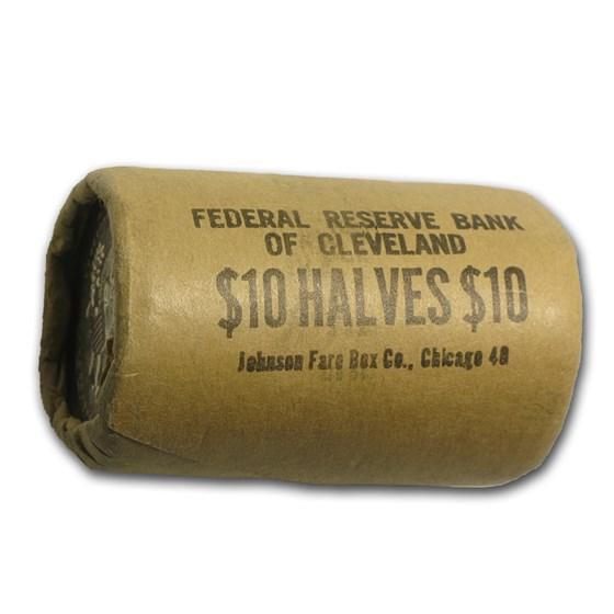 90% Silver 1964 Kennedy Half Dollar 20-Coin Bank Wrapped Roll BU