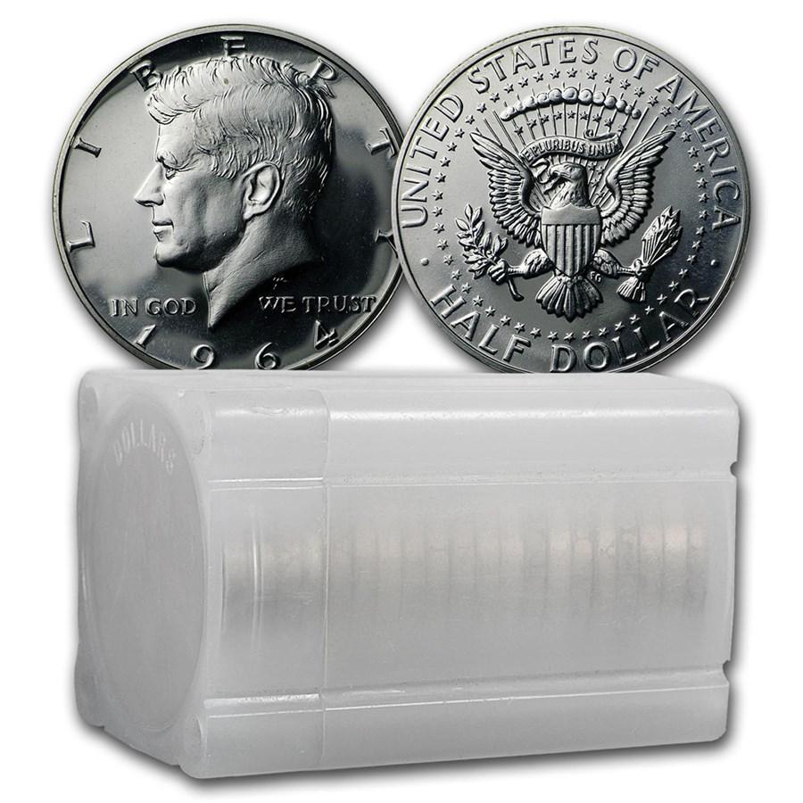 90% Silver 1964 Kennedy Half Dollar 20-Coin Roll Proof
