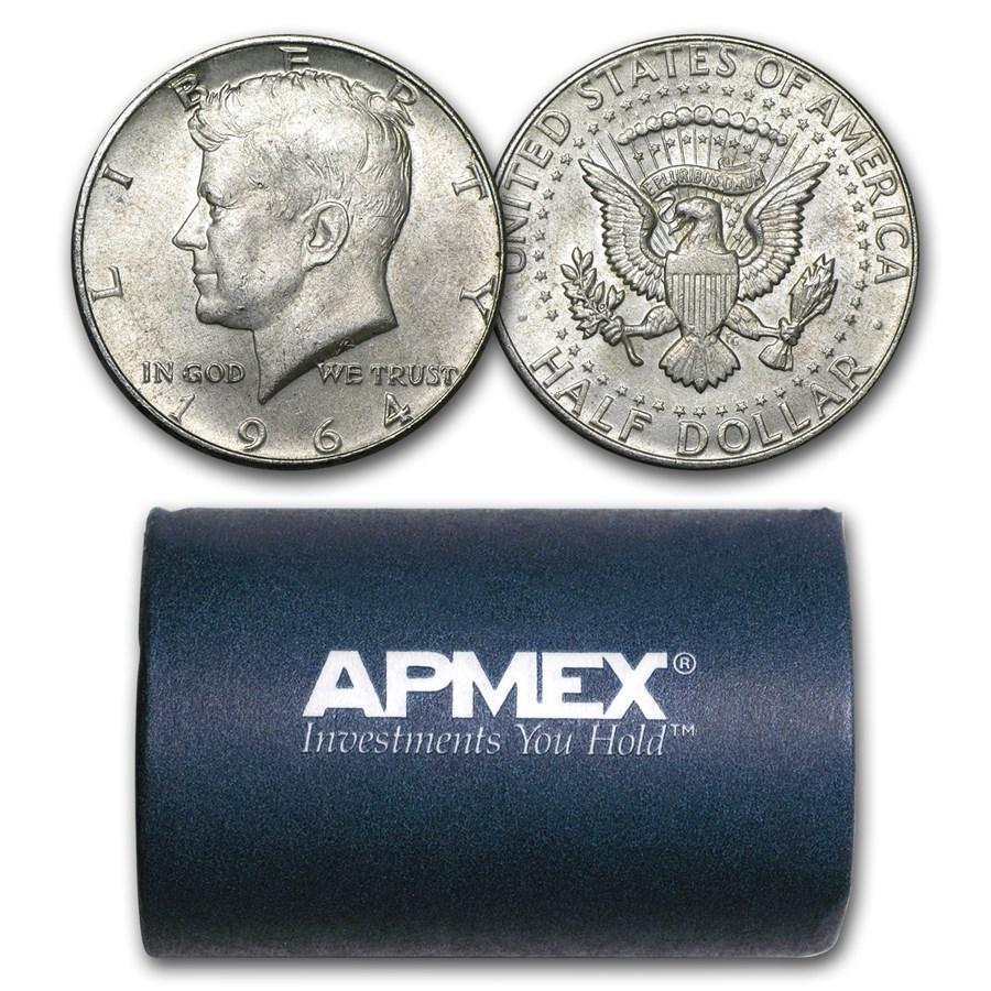 90% Silver 1964-P/D Kennedy Half Dollar 20-Coin Roll Avg Circ