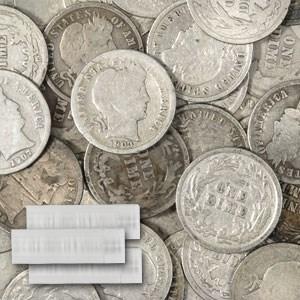 90% Silver Barber Dimes 50-Coin Roll Culls