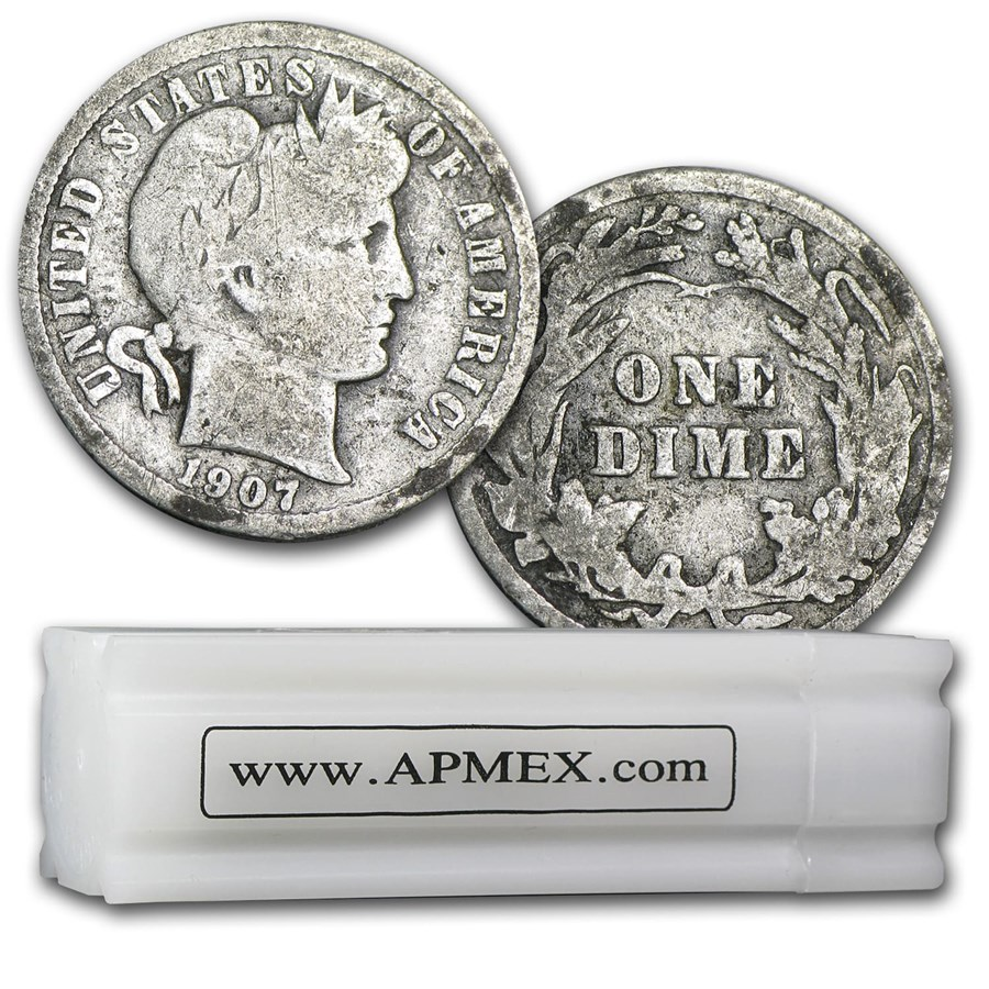 90% Silver Barber Dimes 50-Coin Roll Good/Better