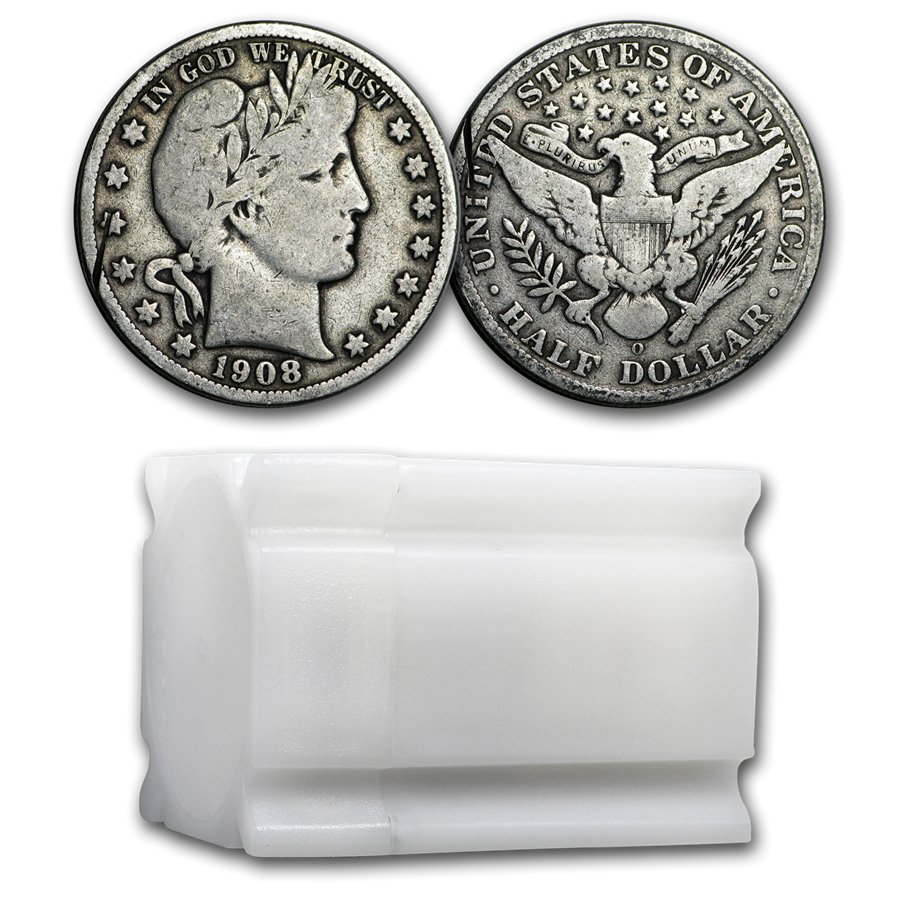 90% Silver Barber Halves $10 20-Coin Roll Culls