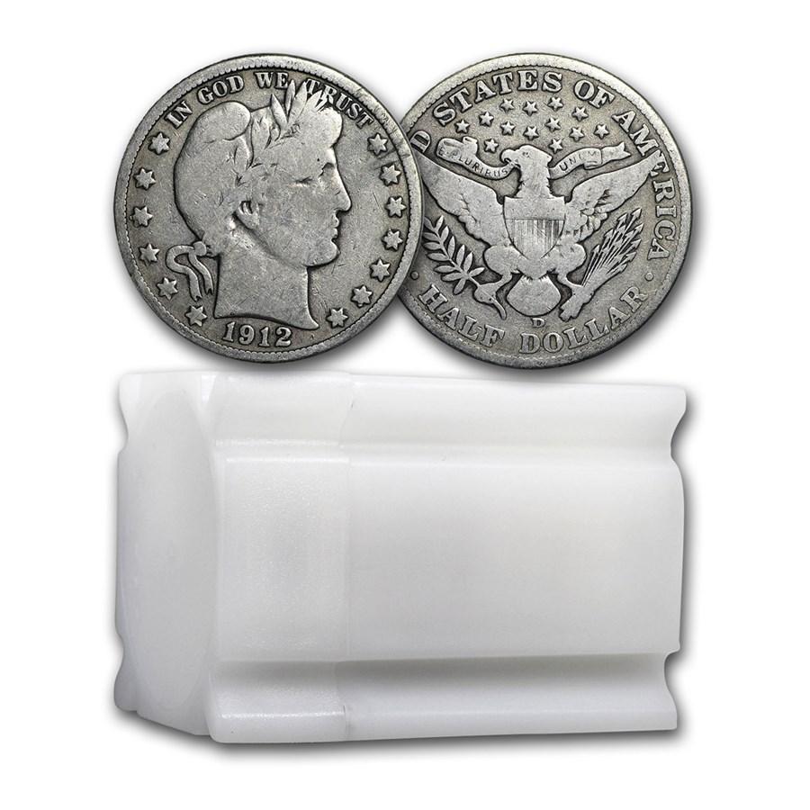 90% Silver Barber Halves $10 20-Coin Roll VG+