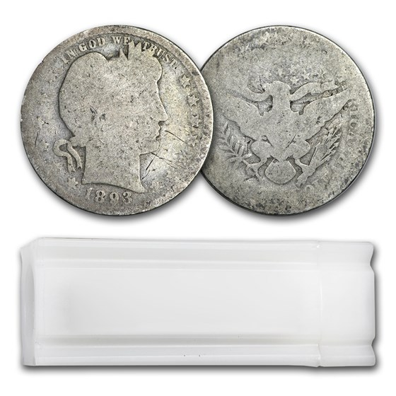 90% Silver Barber Quarters 40-Coin Roll (Cull)