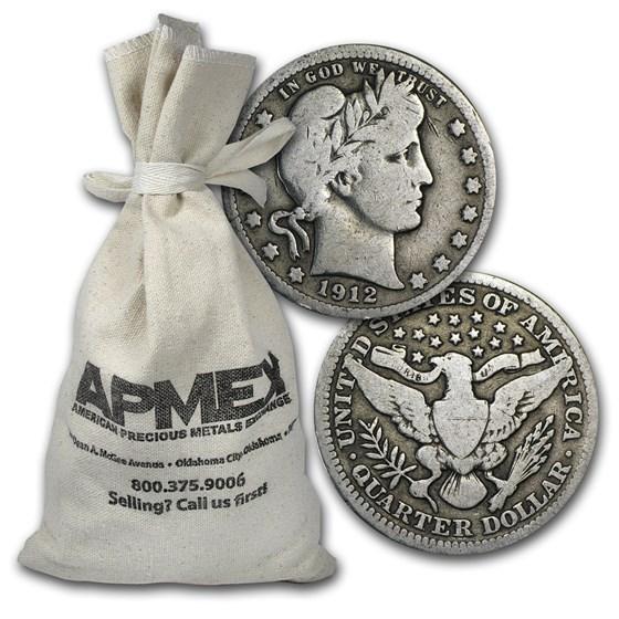 90% Silver Barber Quarters $500 Face Value Bag