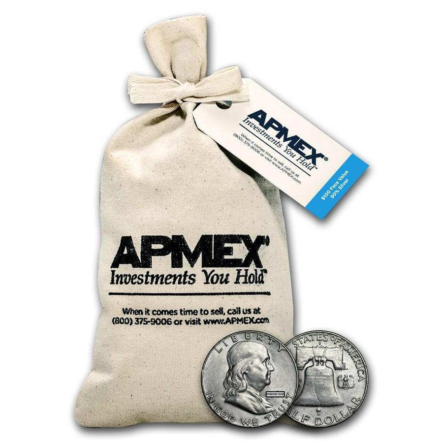 90% Silver Franklin Half Dollars $100 Face Value Bag Avg Circ