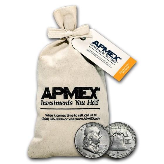 90% Silver Franklin Half-Dollars $50 Face Value Bag Avg Circ
