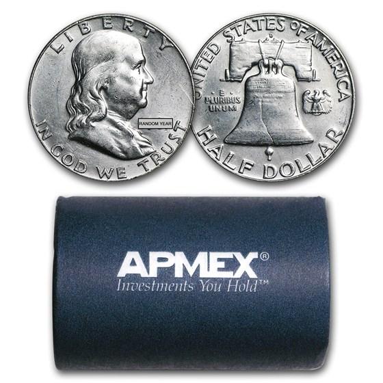90% Silver Franklin Halves $10 20-Coin Roll AU