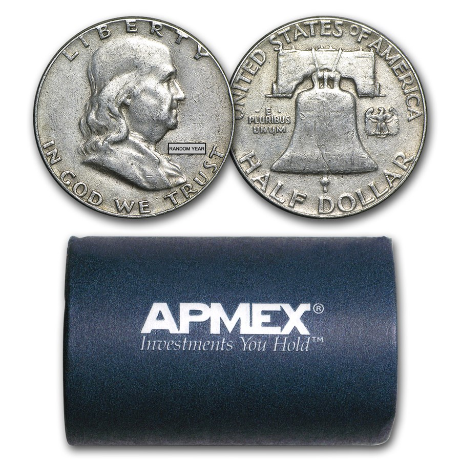 90% Silver Franklin Halves $10 20-Coin Roll Avg Circ
