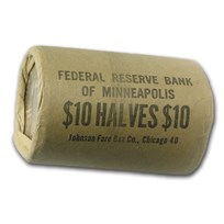 90% Silver Franklin Halves $10 20-Coin Roll BU (Bank Wrapped)