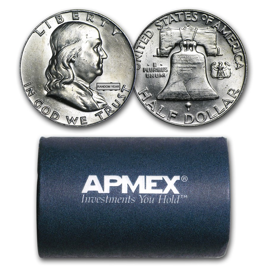 90% Silver Franklin Halves $10 20-Coin Roll BU