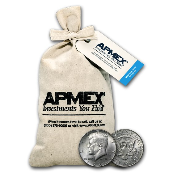 90% Silver Kennedy Half-Dollars $100 Face Value Bag (1964)