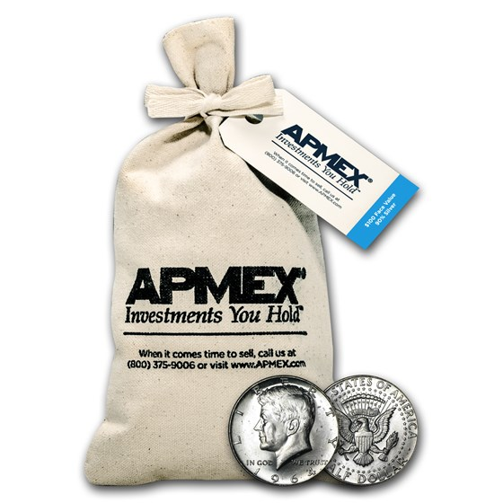90% Silver Kennedy Half-Dollars $100 Face Value Bag BU (1964)