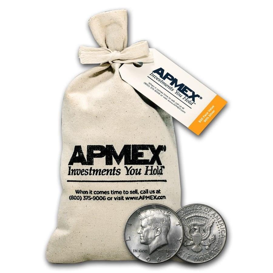 90% Silver Kennedy Half Dollars $50 Face Value Bag (1964)