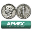 90% Silver Mercury Dime 50-Coin Roll Avg Circ