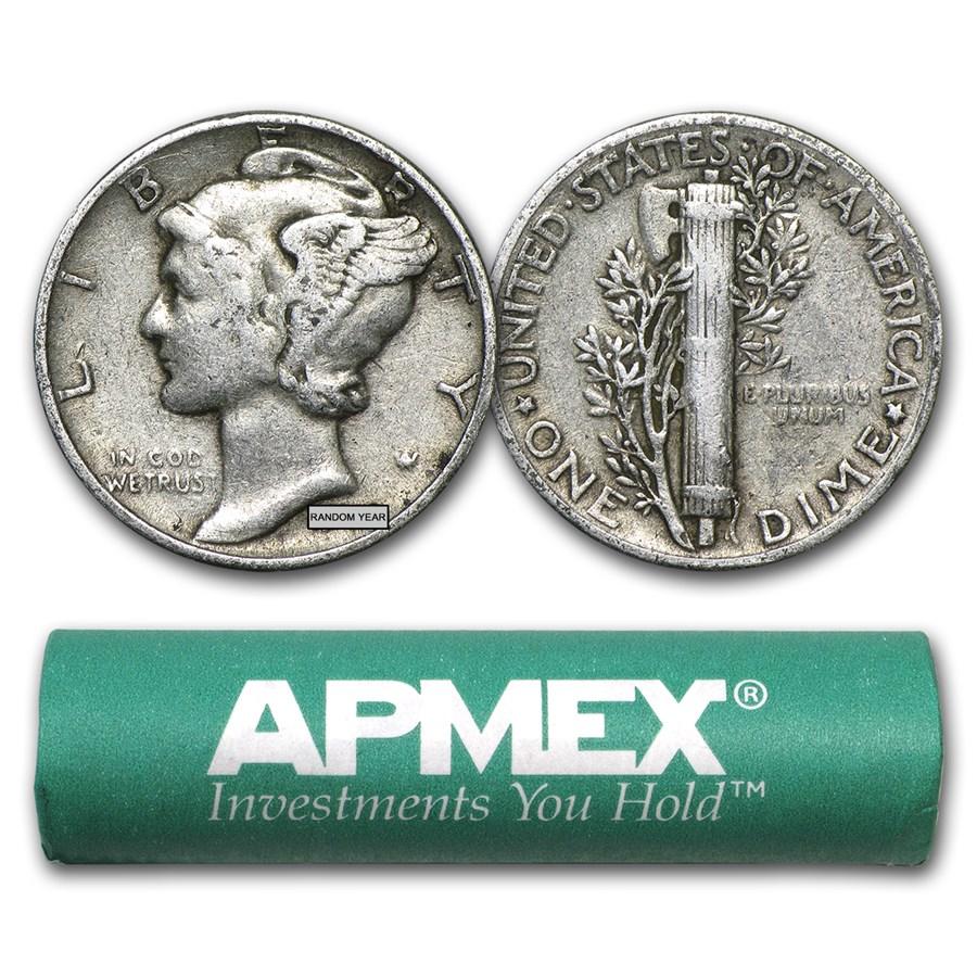 90% Silver Mercury Dime 50-Coin Roll Avg Circ