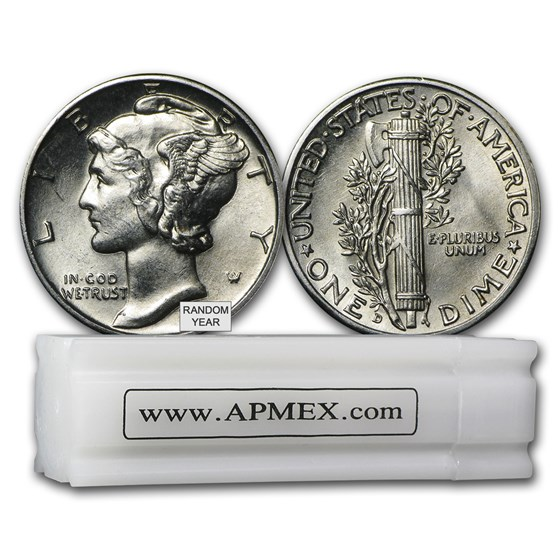 90% Silver Mercury Dime 50-Coin Roll BU (Random Years)