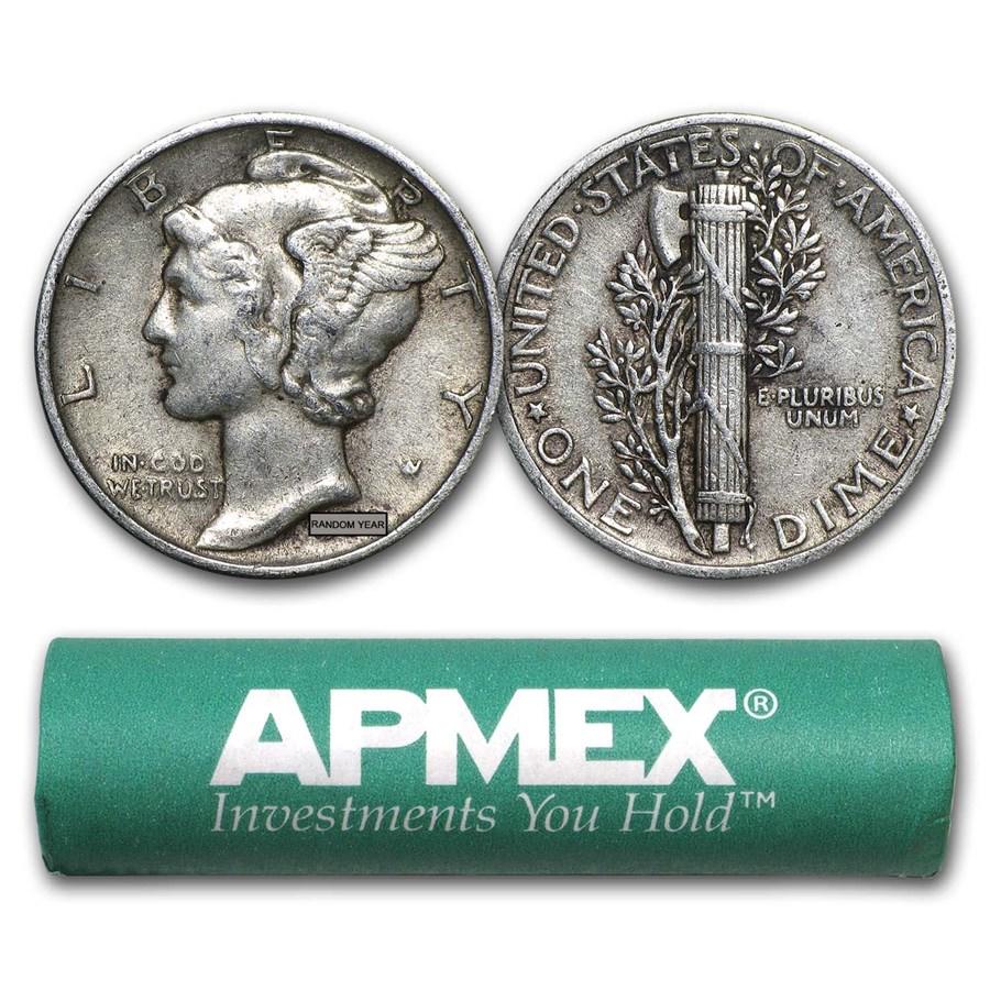 90% Silver Mercury Dime 50-Coin Roll XF