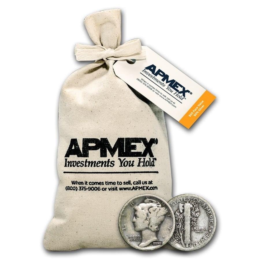 90% Silver Mercury Dime $50 Face Value Bag Avg Circ