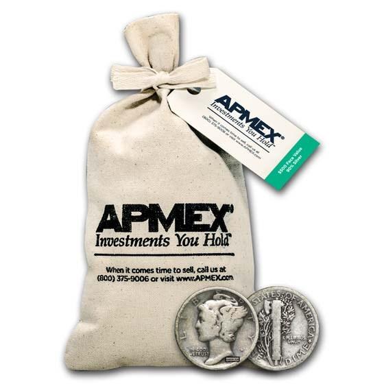 90% Silver Mercury Dime $500 Face Value Bag