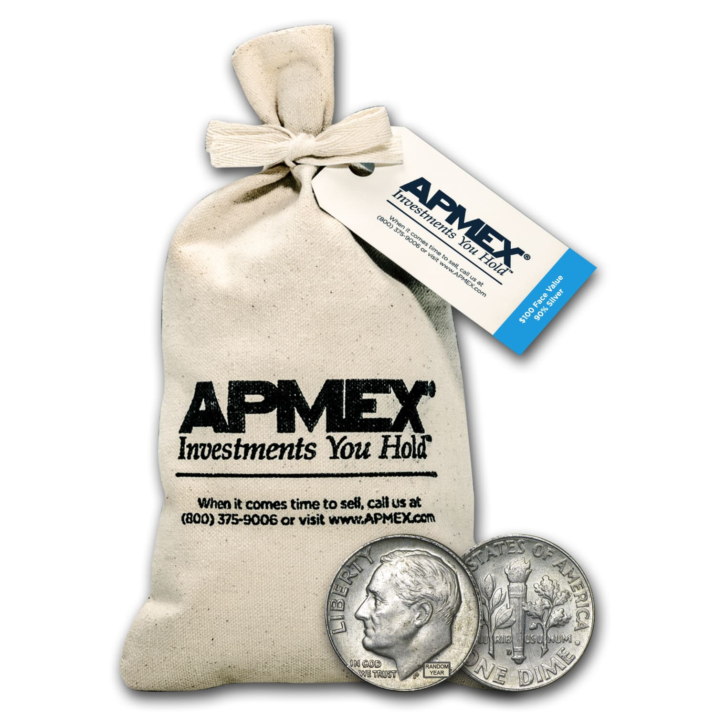 90/% Silver $5 Face Value Per Tube or Bag Pre-1964 Roosevelt Dimes