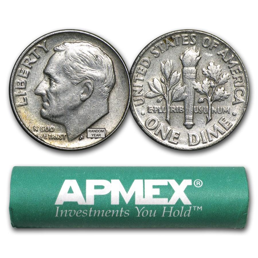 90% Silver Roosevelt Dimes 50-Coin Roll Avg Circ