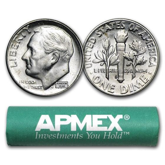 90% Silver Roosevelt Dimes 50-Coin Roll BU