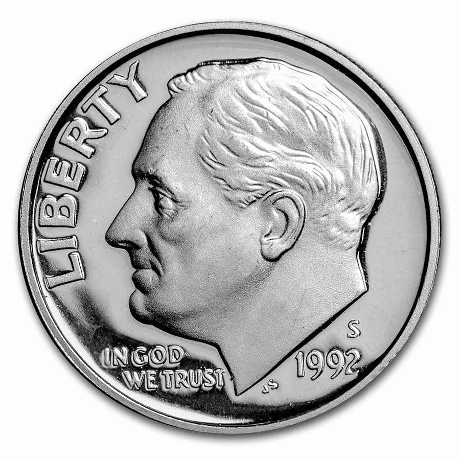 90% Silver Roosevelt Dimes 50-Coin Roll Proof