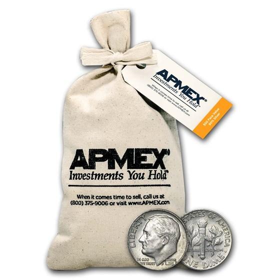 90% Silver Roosevelt Dimes $50 Face Value Bag