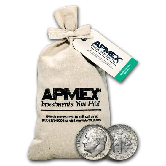 90% Silver Roosevelt Dimes $500 Face Value Bag