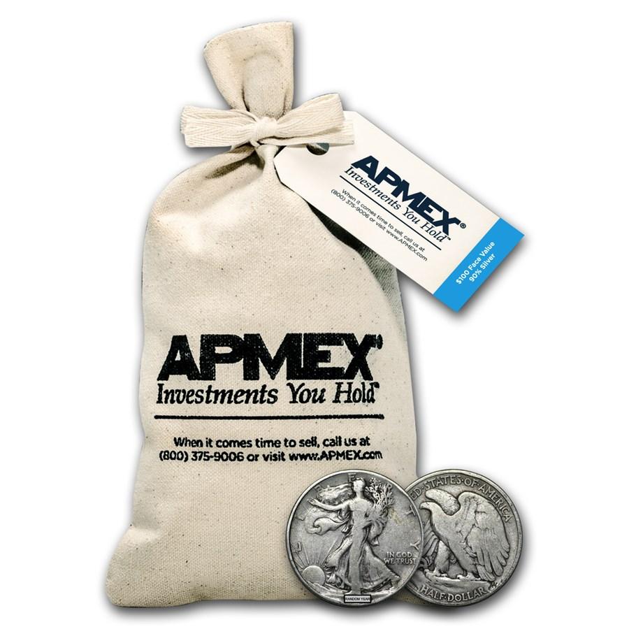 90% Silver Walking Liberty Half Dollars $100 Face Value Bag