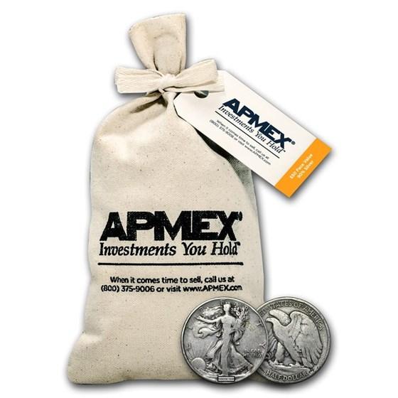 90% Silver Walking Liberty Half Dollars $50 Face Value Bag