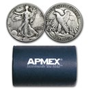 90% Silver Walking Liberty Halves $10 20-Coin Roll Avg Circ