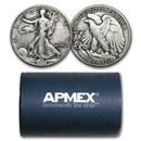 90% Silver Walking Liberty Halves $10 20-Coin Roll Avg Circ