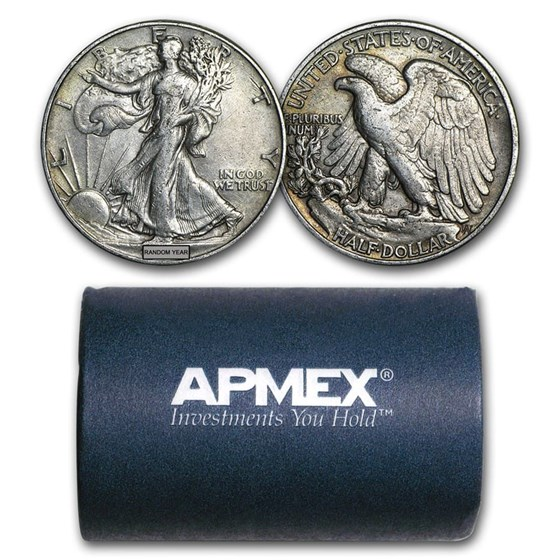 90% Silver Walking Liberty Halves $10 20-Coin Roll XF