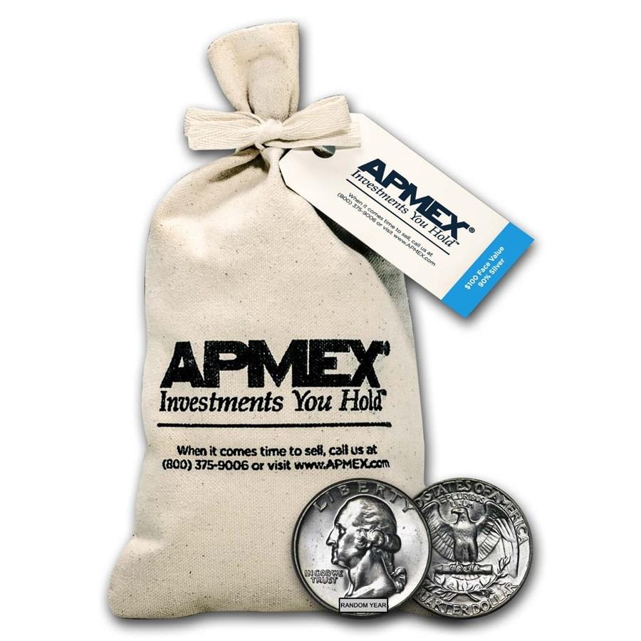90% Silver Washington Quarters $100 Face Value Bag BU
