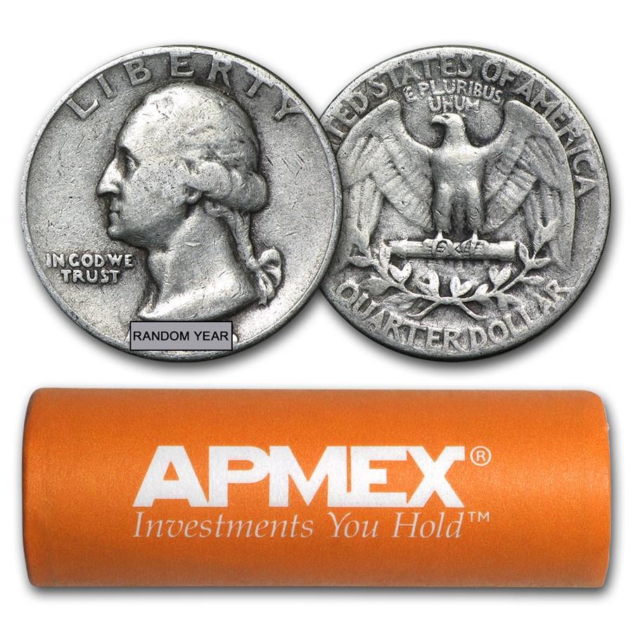 90% Silver Washington Quarters 40-Coin Roll Avg Circ