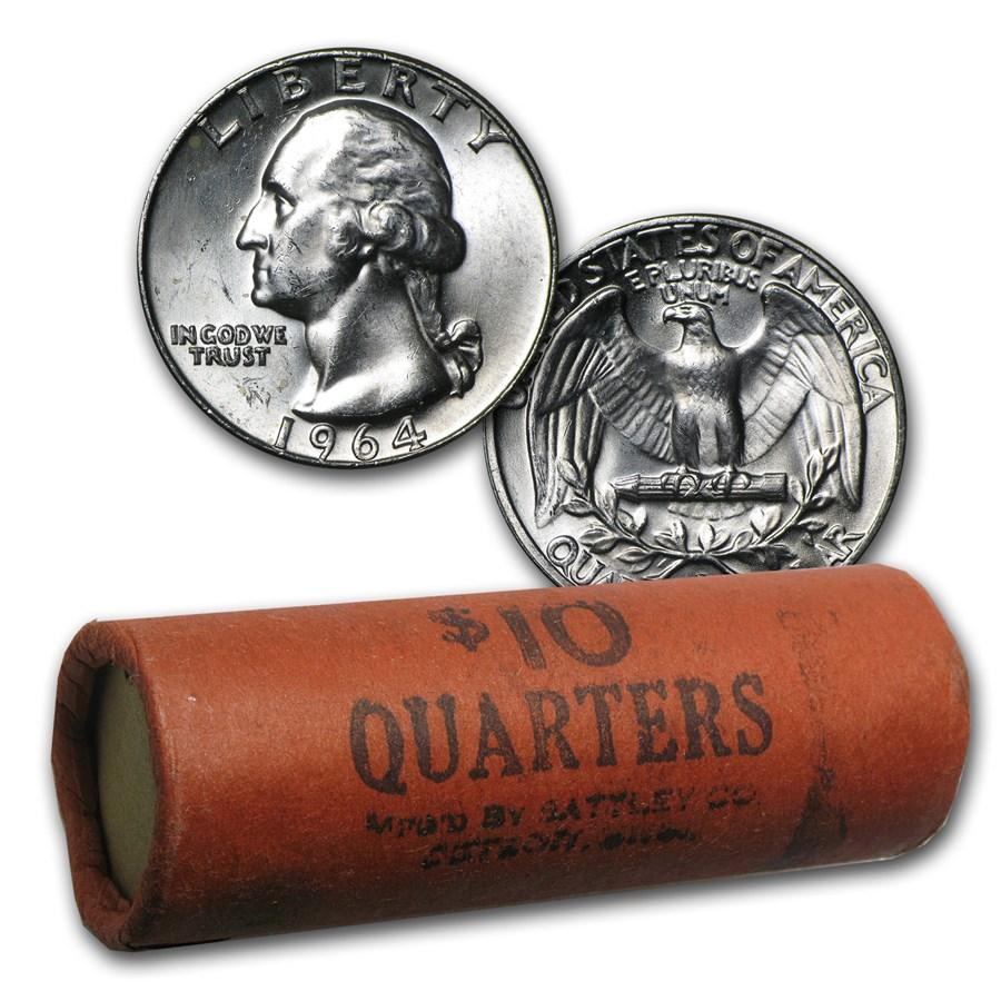 90% Silver Washington Quarters 40-Coin Roll BU (Bank Wrapped)