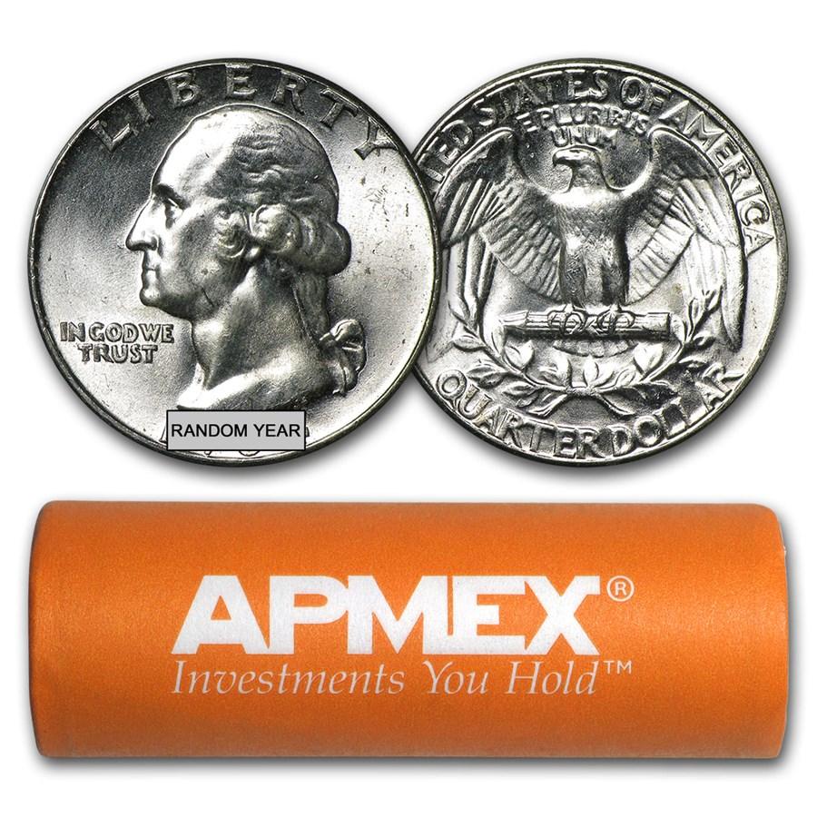 90% Silver Washington Quarters 40-Coin Roll BU