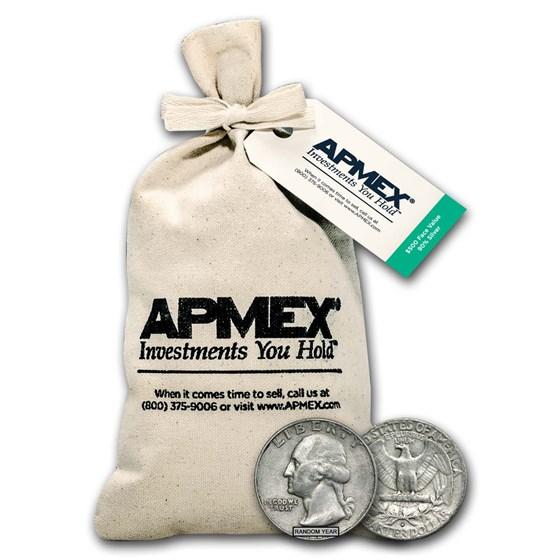 90% Silver Washington Quarters $500 Face Value Bag