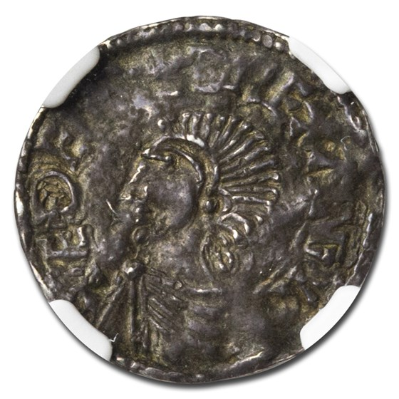 (978-1016) Great Britain Silver Penny Aethelred II AU-53 NGC