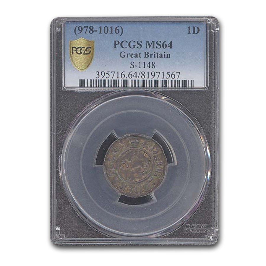 (978-1016) Great Britain Silver Penny Aethelred II MS-64 PCGS