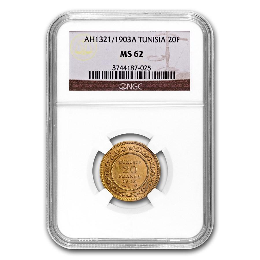 AH1321/1903 Tunisia Gold 20 Francs MS-62 NGC