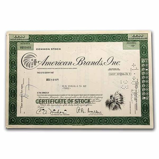 American Brands, Inc. Stock Certificate (Green)