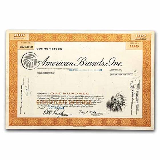 American Brands, Inc. Stock Certificate (Orange)