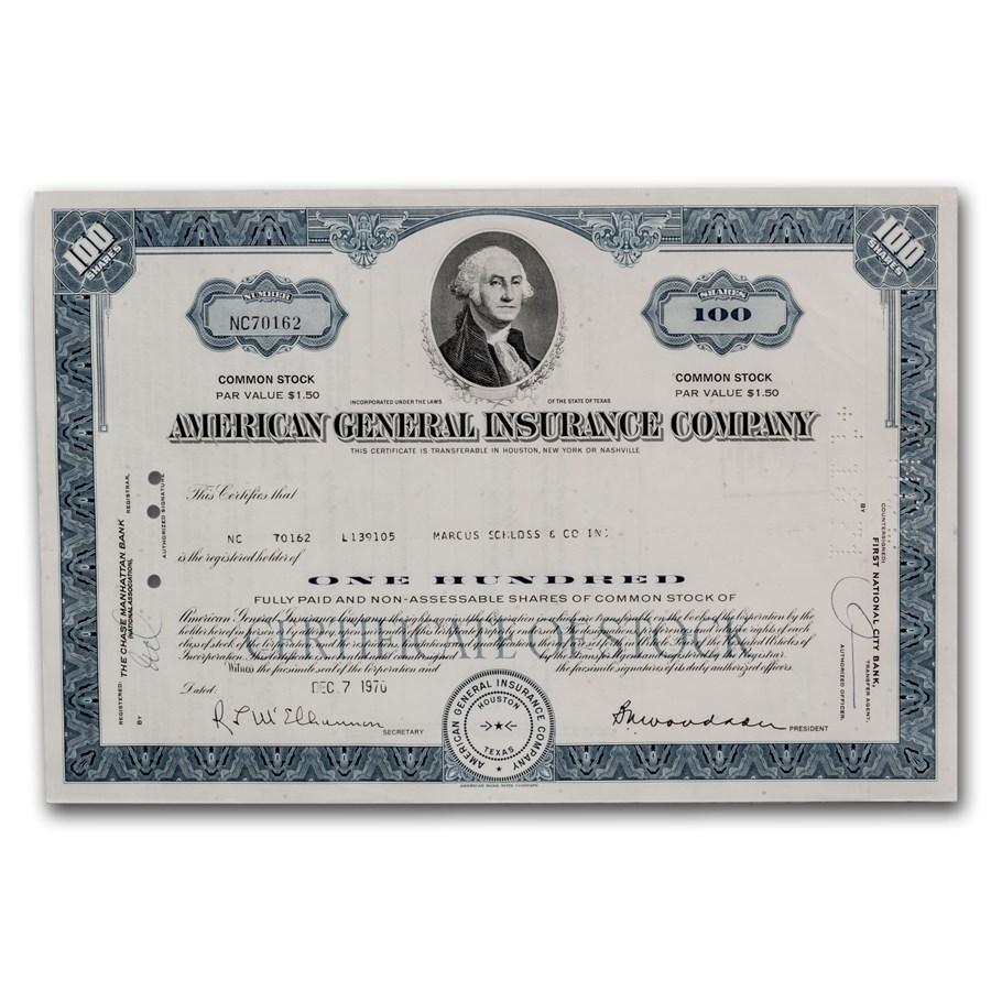 American General Insurance Company Stock Certificate